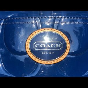 Coach Bags - Blue Coach Patent Leather Peyton Tote & Wallet
